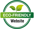 Eco friendly website with green circle and two leafs.