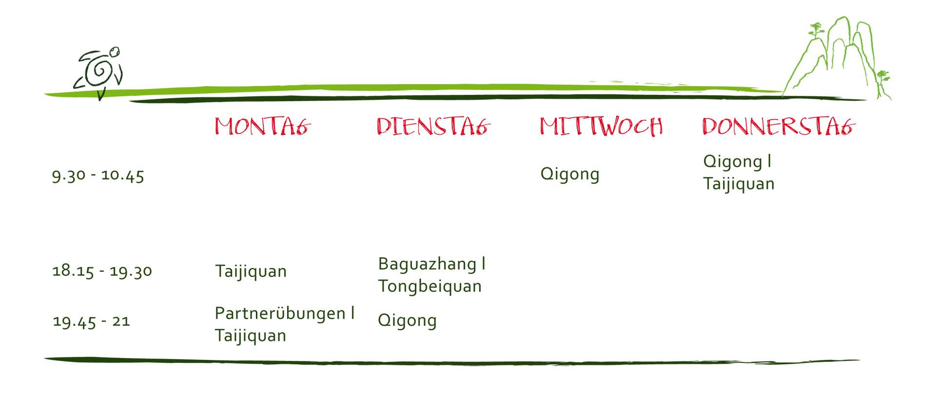 Stundenplan für Tai Chi, Qigong und Meditation, wöchentliche Kurse und Workshops in Göttingen.
